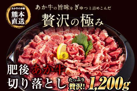 熊本県産 肥後 あか牛 切り落とし 1.2kg 600gx2 《60日以内に順次出荷(土日祝除く)》 古閑畜産 小分け 肉 すき焼き 鍋 牛丼 肉じゃが ハッシュドビーフやハヤシライスにも