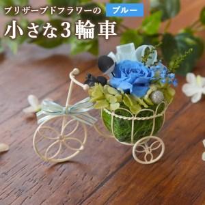 プリザーブドフラワーの『小さな3輪車』全3色 花かざり ブルー