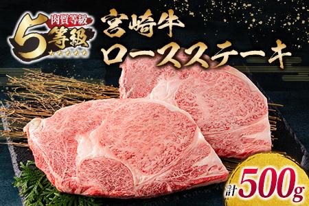 D22-191 「最高ランク5等級」宮崎牛ロースステーキ2枚(計500g)