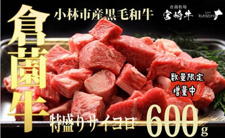 【倉薗牧場直送】小林市産倉薗黒毛和牛ジューシーサイコロ(600g)