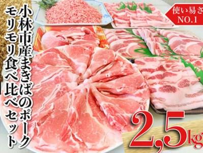 【食べ盛り応援】小林市まきばのポークモリモリ食べ比べセット(計2.5㎏)