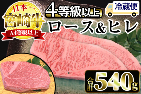 Y-CD3 <冷蔵・真空包装>宮崎牛旨味全開食べ比べセット(合計540g、ヒレ140g・ロースステーキ200g×2枚)【スーパーほりぐち】