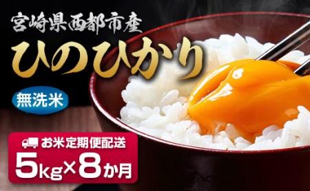 【先行予約・2021年8ヶ月定期便】宮崎県産ヒノヒカリ・コシヒカリ無洗米 5kg×8回<6-10>