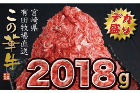 1.1-72 有田牧畜産業 牧場直送 この華牛デカ盛り 2018g