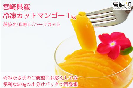 c587_ht <宮崎県産冷凍カットマンゴー500g>2か月以内に順次出荷