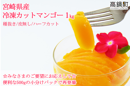 a446_ht <宮崎県産冷凍カットマンゴー1kg>1か月以内に順次出荷