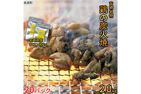 019_ym_x2 <宮崎名物鶏の炭火焼100g×20袋+ウコン粒2袋>平成30年7月末迄出荷