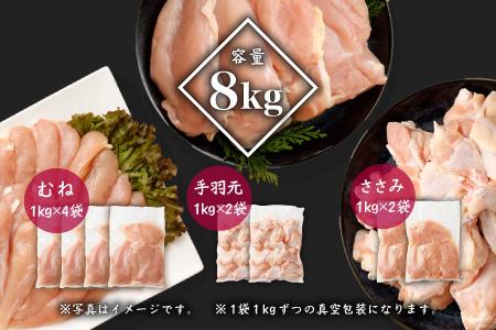宮崎県産若鶏<ムネ・ササミ・手羽元>8kgセット※60日以内に発送可能 【B392】