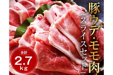 A425 【11月配送分】豚ウデ肉・豚モモ肉スライスセット2.7kg(都農町加工品)