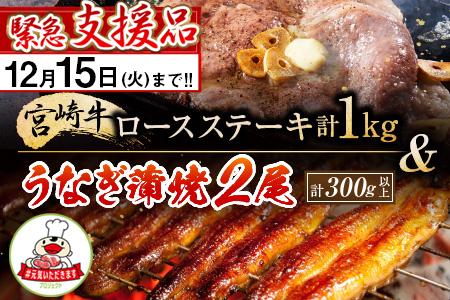 C71-1127 《期間・数量限定》緊急支援品『宮崎牛ロースステーキ(1kg)&うなぎ蒲焼2尾(300g以上)』