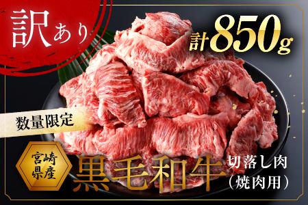 AA41-0416 数量限定【訳あり】宮崎県産黒毛和牛切り落とし肉(焼肉用)計850g