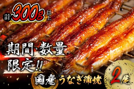 A508-0630 《毎月300セット限定》うなぎ蒲焼2尾(計300g以上)国産鰻(ウナギ・さんしょう・たれセット)