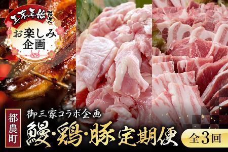 CK4 期間・数量限定《3か月お楽しみ定期便》うなぎ蒲焼4尾(計640g以上)&若鶏もも肉(計3kg)&豚焼肉(計2.3kg以上)セット