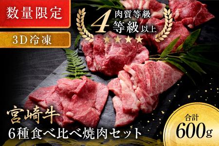 B141 《数量限定》宮崎牛6種食べ比べ焼肉セット【3D冷凍】 肉 牛 牛肉
