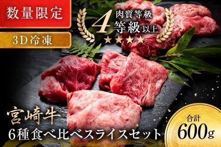 B142  《数量限定》宮崎牛6種食べ比べスライスセット【3D冷凍】 肉 牛 牛肉