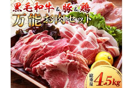 A405 〈黒毛和牛&豚&鶏〉万能お肉セット(総重量4.5kg)
