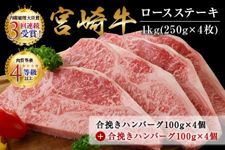 C65 宮崎牛ロースステーキ(250g×4枚)&合挽きハンバーグ(100g×4個)セット《合計1.4kg》