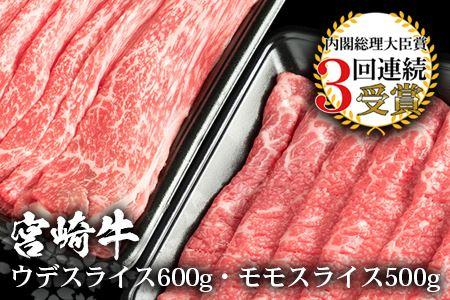 受賞歴多数!! 宮崎牛 「ウデ・モモ スライス」合計1.1キロ【牛肉】