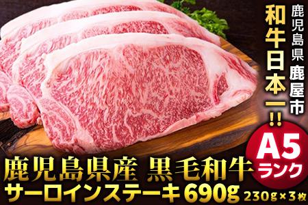 572-2 必見!鹿児島県産黒毛和牛A5ランクサーロインステーキ230g×3枚