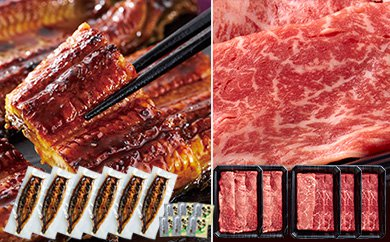 特4-2206/ビックリ!鰻6尾とA4等級黒毛和牛すき焼き肉1kgのよかもんセット