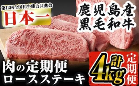 E 毎月届く わくわく定期便 【肉】③ 鹿児島県産黒毛和牛ステーキ 合計5回