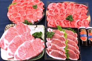 E-010 最上級黒毛和牛ステーキ、黒豚ロースステーキ・しゃぶしゃぶセット