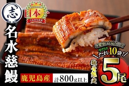 b5-131 【緊急支援企画】国産うなぎ蒲焼名水慈鰻5尾(合計800g以上)