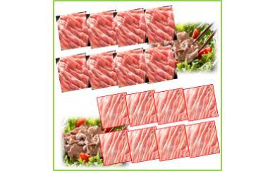 鹿児島県産豚モモ・豚ウデスライス16パックセット〈約4.8kg〉