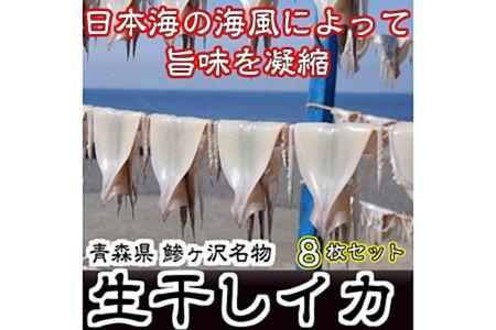 【2623-0073】【ふるさと納税】青森県鰺ヶ沢町生干しイカ8枚セット※お申し込みから3ヶ月以内の発送になります。