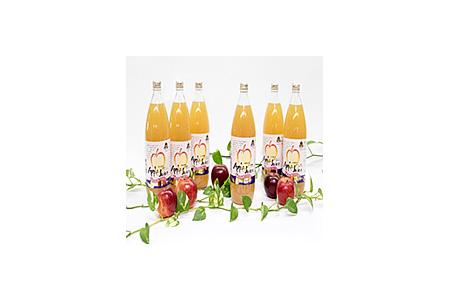 【完熟もぎ取りりんご使用】 りんごジュース1リットル瓶6本