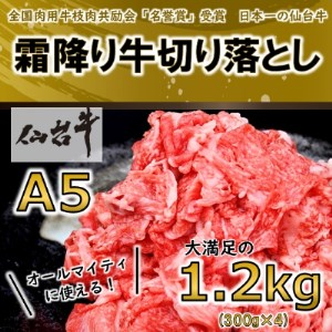 【A5ランク仙台牛】切り落とし 合計1.2kg(300g×4)【1206298】