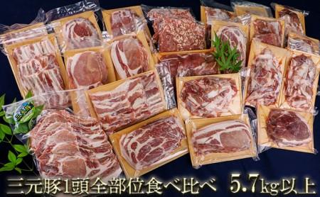 涌谷町産三元豚1頭全部位食べ比べセット 5.7kg以上