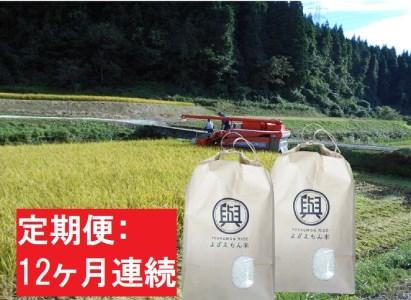 【12ヶ月】よざえもんの 一等米・あきたこまち10kg(精米5kg×2)【定期便】秋田県産
