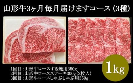 FY18-483 高橋畜産 山形牛3ヶ月毎月届けますコース (3種) 計1kg