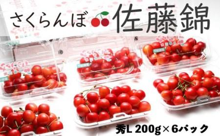 FY18-827【令和2年産先行予約】さくらんぼ(佐藤錦) 秀200g×6パック Lサイズ