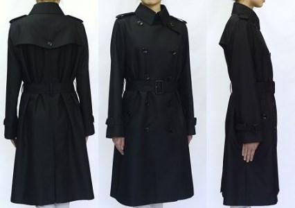 YZY-1-Ku07「米沢織」シルク100% 婦人トレンチコート(黒)[サイズ7号]