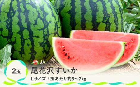 【JA】尾花沢すいか Lサイズ(約6kg~7kg)×2 N12