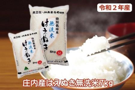 令和2年産米 特別栽培米はえぬき無洗米7kg