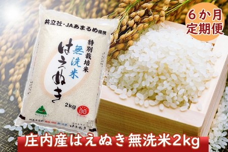 <8月開始>庄内米6か月定期便!特別栽培米はえぬき無洗米2kg(入金期限:2021.7.25)