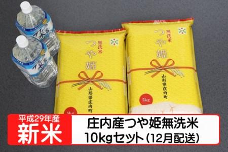 【A126】平成29年庄内町産つや姫無洗米10kgセット(12月発送)