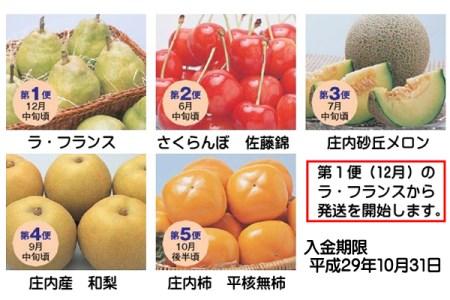 【D307】厳選山形フルーツ便(入金期限:H29.10.31)