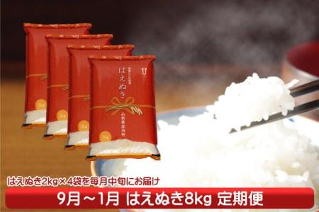 【J-837】庄内米定期便!はえぬき8kg(9月中旬より配送開始 入金期限:H30.8.25)