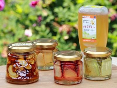 【2605-0004】 厳選ドライフルーツの蜂蜜漬け3種&ハニーナッツ&田舎はちみつセット