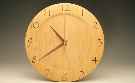 [№5815-0193]木の時計 榛の木 29.7cm