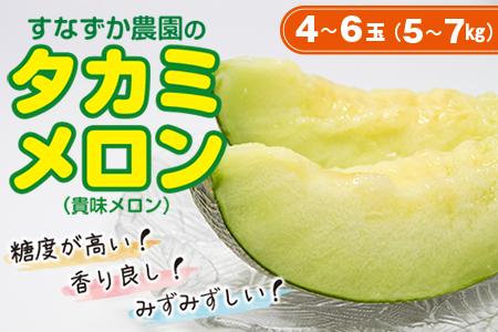 ◇すなずか農園のタカミメロン 4~6玉(5~7kg)