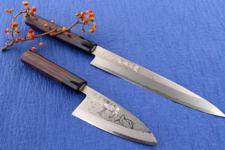 ◇伝統工芸士 北岡作 多層鋼 白紙2号「柳刃」と「薄出刃」