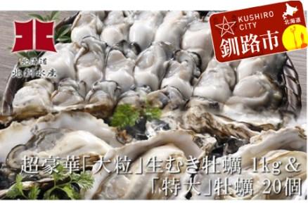 [Ho202-D067]釧路管内産「大粒」生むき牡蠣1kg&「特大」極上牡蠣20個