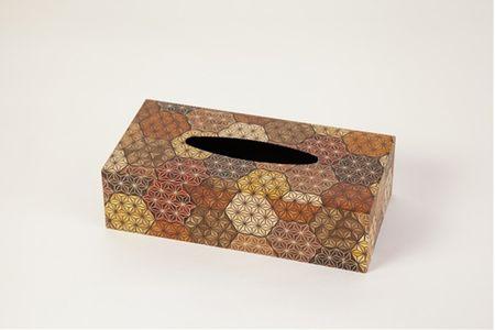 【箱根寄木細工 ティッシュケース 亀甲お部屋の雰囲気作りのアクセントに