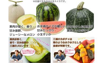 1-19夏野菜セット(小玉スイカ、メロン、かぼちゃ詰め合わせ)
