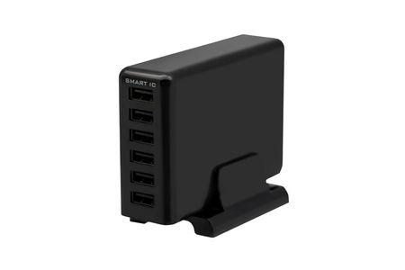 専用スタンド付属 かしこく急速充電 USB充電器 OWL-ACU6S60W-bk